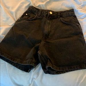 High waisted black jeans shorts
